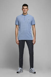 JACK & JONES PREMIUM regular fit polo met contrastbies lichtblauw, Lichtblauw