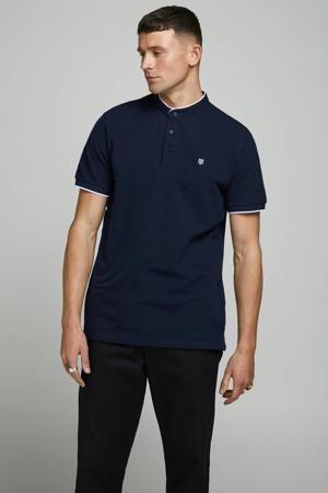 regular fit overhemd met contrastbies donkerblauw