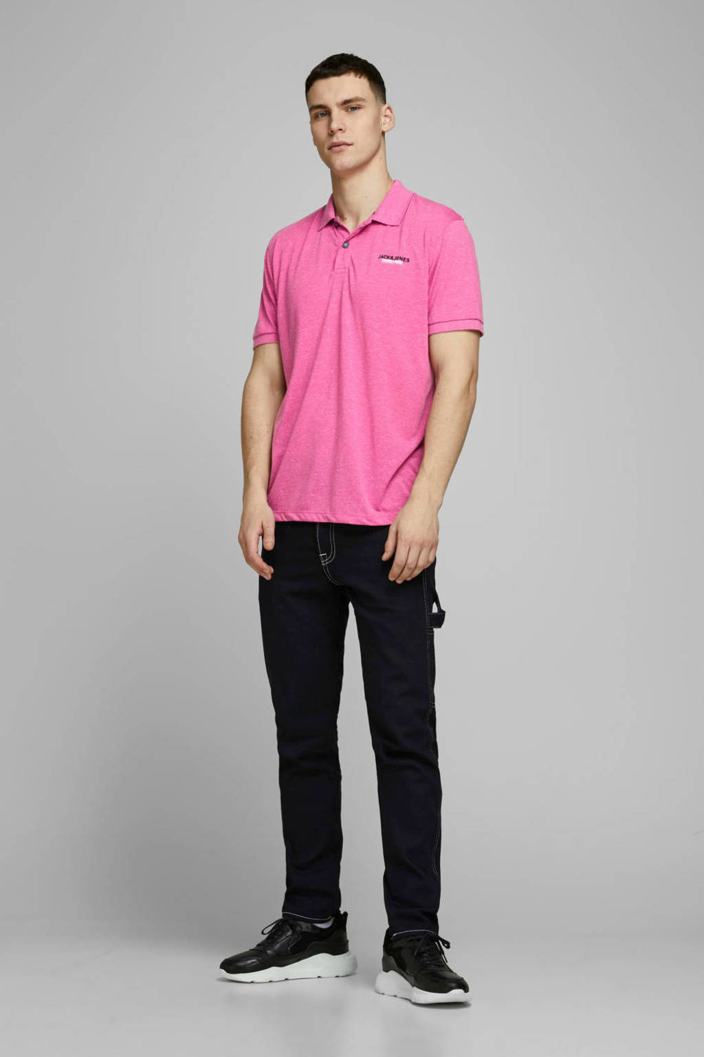 JACK & JONES CORE gemêleerde slim fit polo roze, Roze