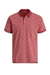 JACK & JONES PREMIUM regular fit polo met contrastbies rood, Rood