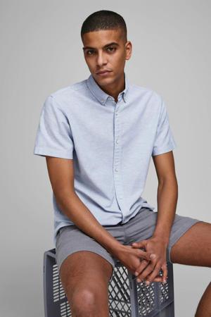 regular fit overhemd met linnen lichtblauw