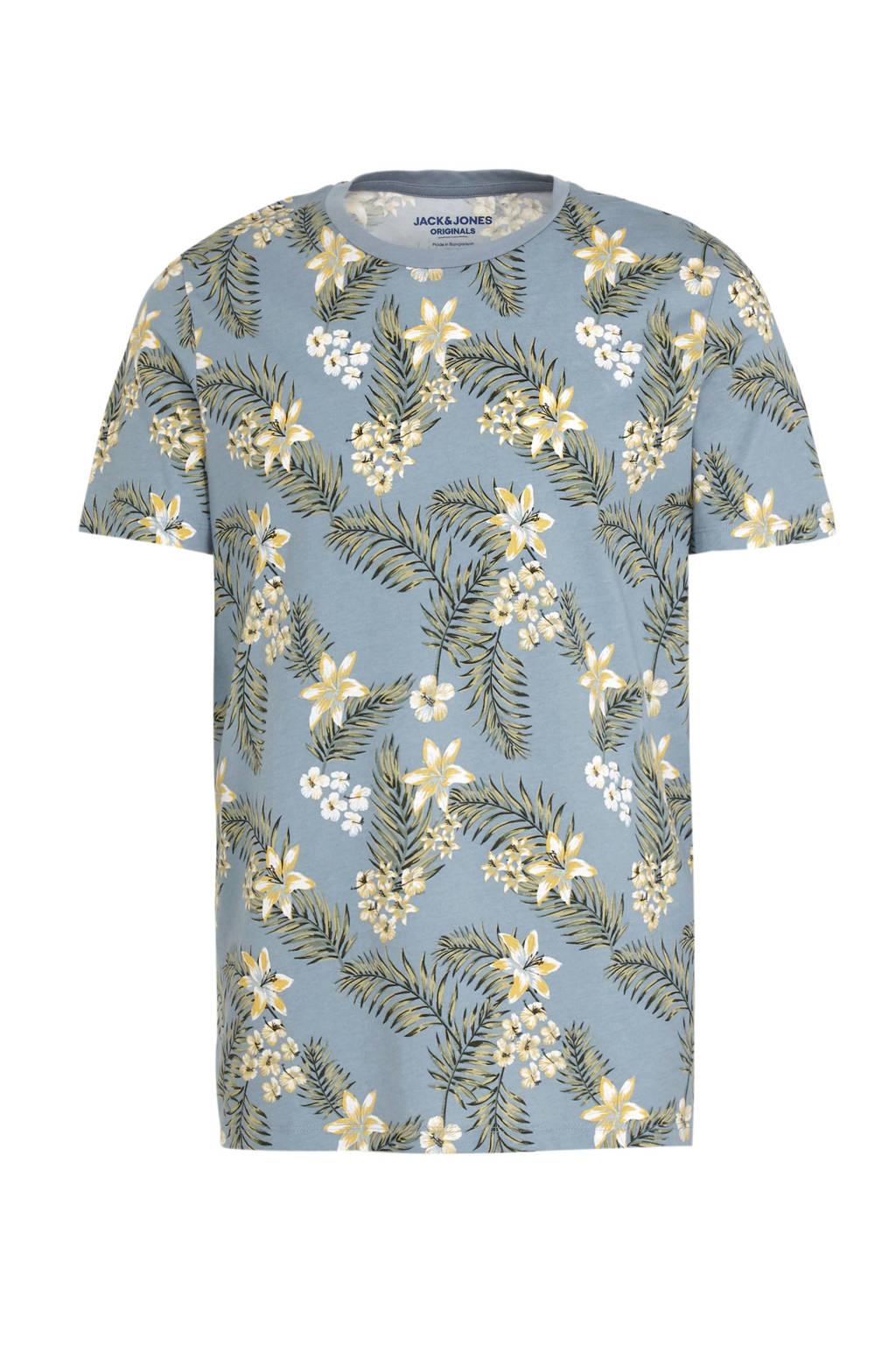 JACK & JONES ORIGINALS T-shirt met all over print blauw, Blauw