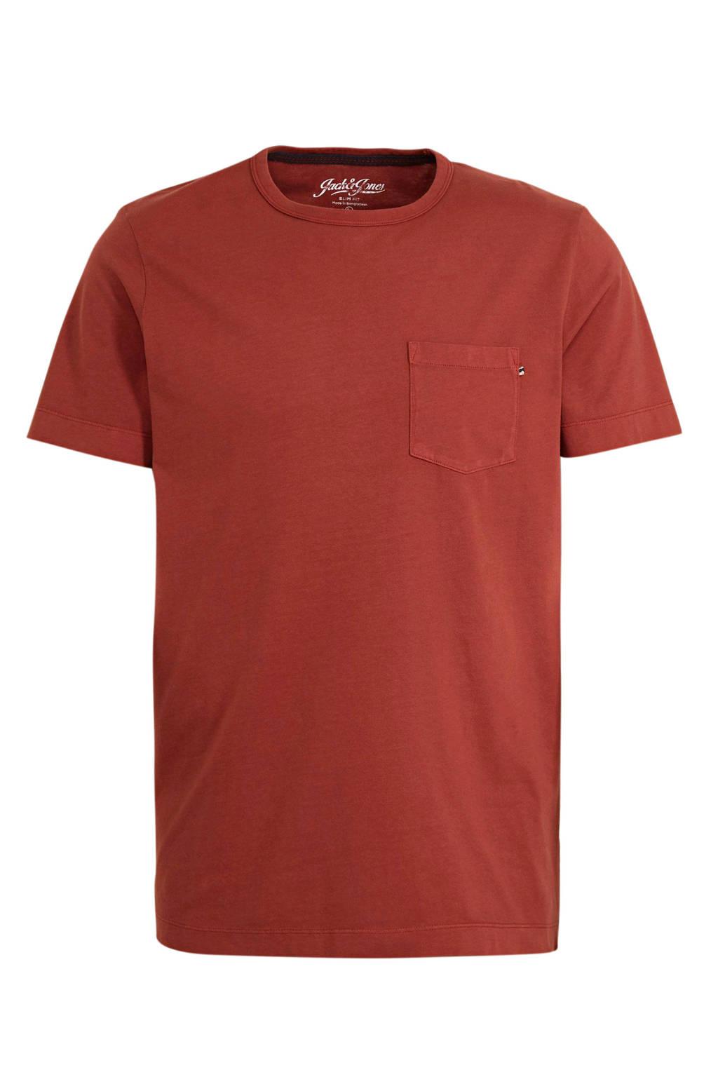 JACK & JONES ESSENTIALS T-shirt donkerrood, Donkerrood