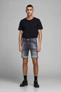 JACK & JONES JEANS INTELLIGENCE slim fit jeans short GRIDD black denim, Black denim