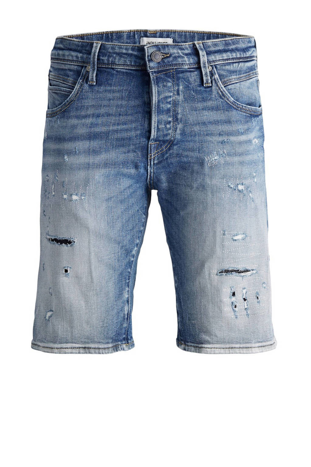 JACK & JONES JEANS INTELLIGENCE slim fit jeans short GRIDD blue denim, Blue denim