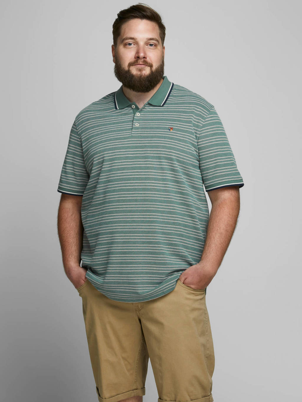 JACK & JONES PLUS SIZE gestreepte regular fit polo groen/beige, Groen/beige