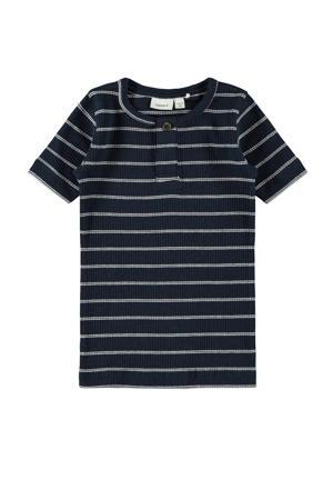 gestreept T-shirt Faco met biologisch katoen donkerblauw/wit