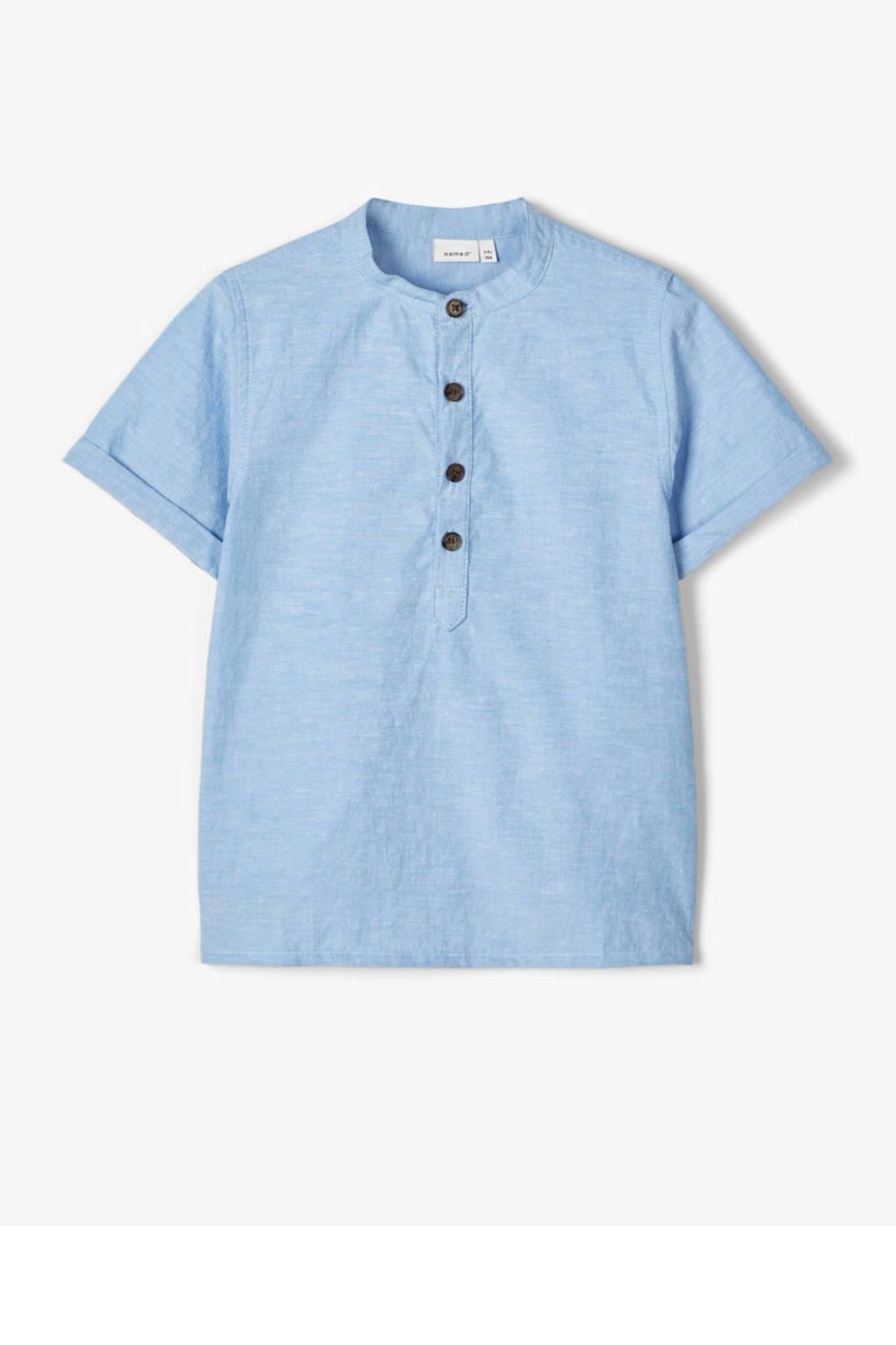NAME IT MINI baby gemêleerd T-shirt Frederik met biologisch katoen blauw, Blauw