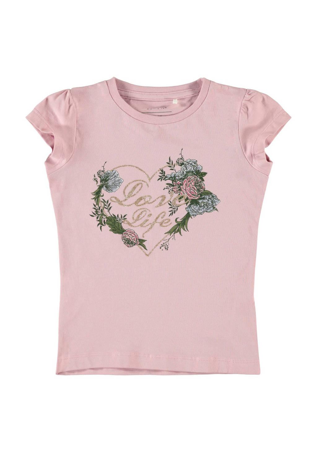 NAME IT MINI T-shirt Fallu met biologisch katoen roze/groen, Roze/groen
