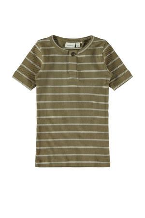 gestreept T-shirt Faco met biologisch katoen olijfgroen/wit