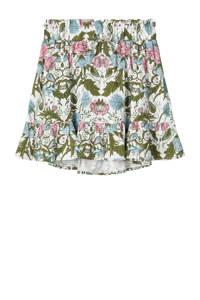 NAME IT MINI rok Faustina met all over print en plooien wit/groen/roze, Wit/groen/roze
