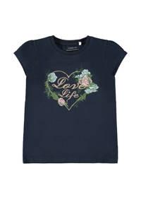 NAME IT MINI T-shirt Fallu met biologisch katoen donkerblauw/mintgroen/roze, Donkerblauw/mintgroen/roze