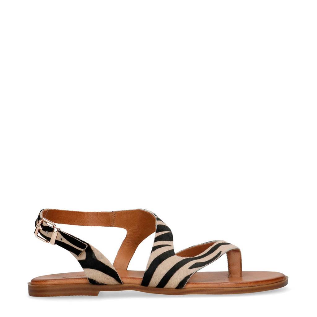 Sacha   leren sandalen zebraprint, Beige/zwart