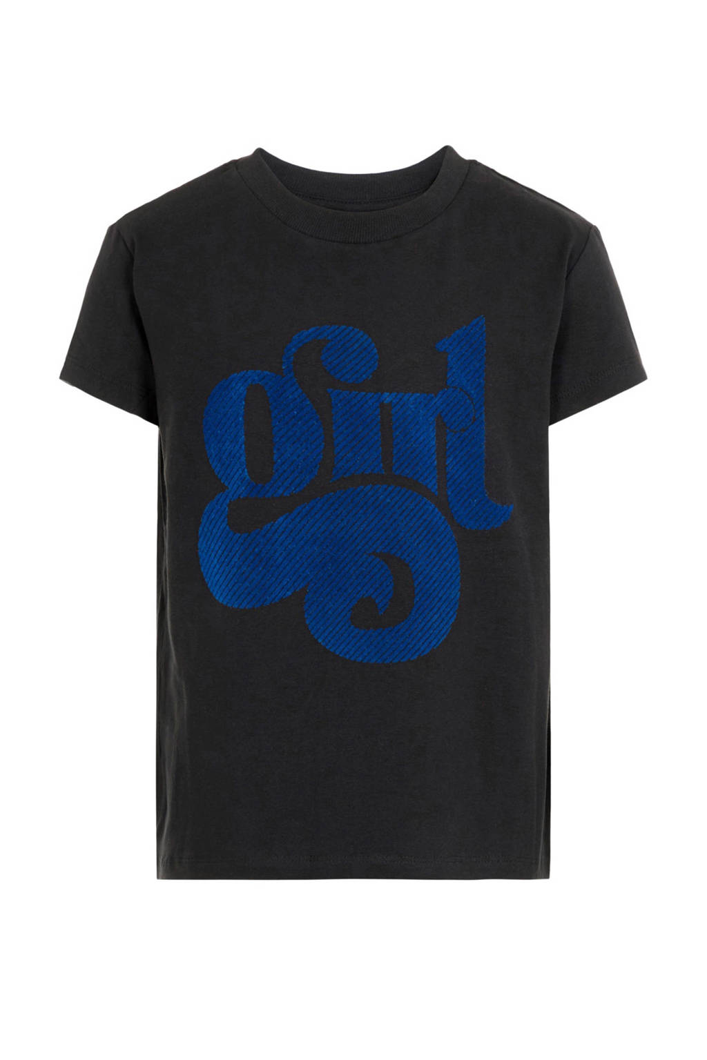 NAME IT KIDS T-shirt Nella met biologisch katoen zwart/blauw, Zwart/blauw
