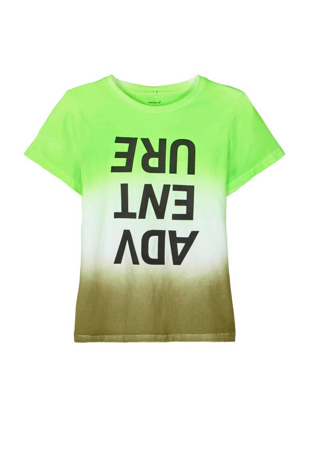 NAME IT KIDS T-shirt Tie met biologisch katoen wit/groen/zwart, Wit/groen/zwart