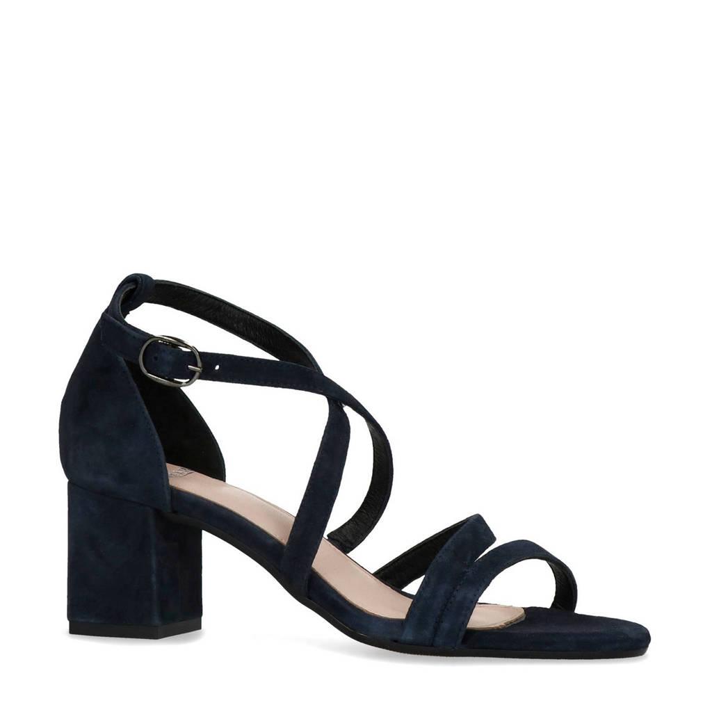 Manfield   suède sandalettes donkerblauw, Donker blauw