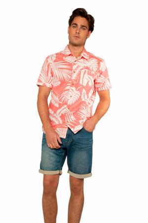 gebloemd slim fit overhemd roze