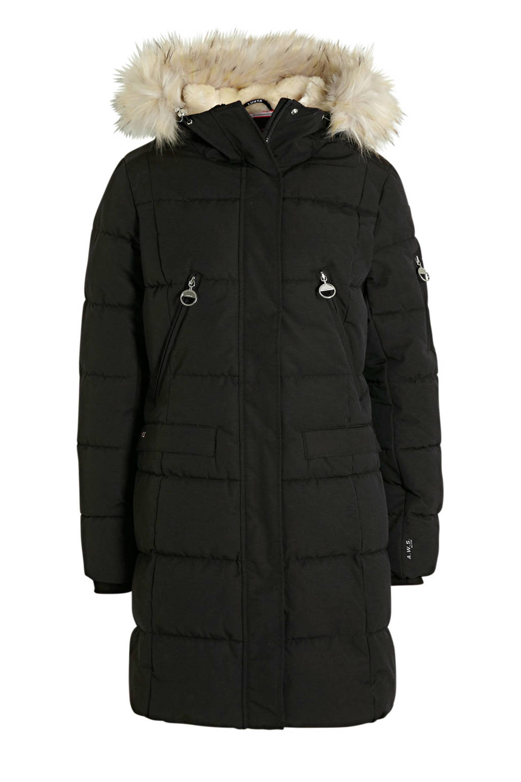 Luhta lange gewatteerde jas Eriksby zwart, Zwart