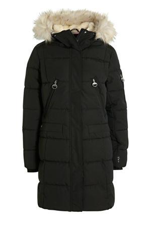 lange gewatteerde jas Eriksby zwart