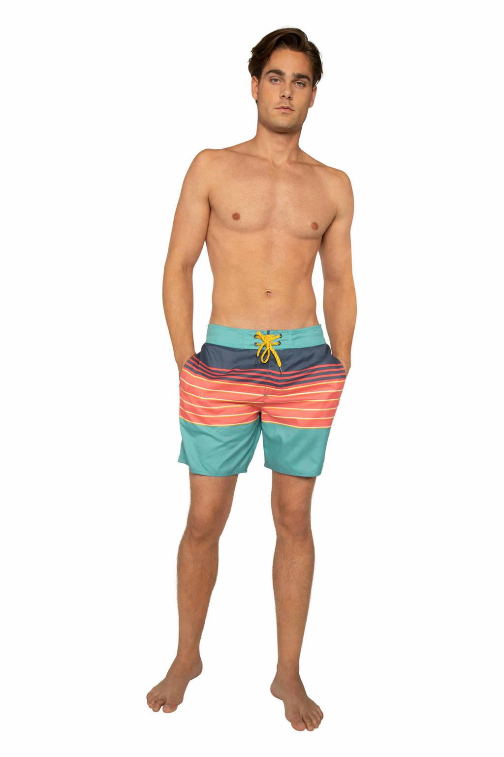 Protest gestreepte boardshort Tano lichtblauw/roze, Deep Coral