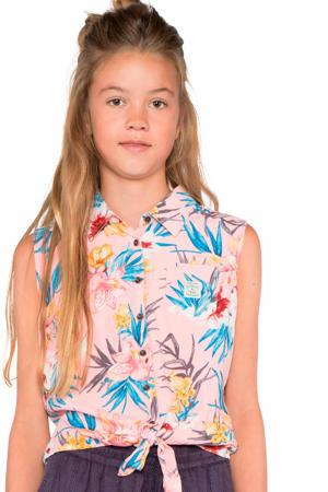 gebloemde blouse Loni lichtroze