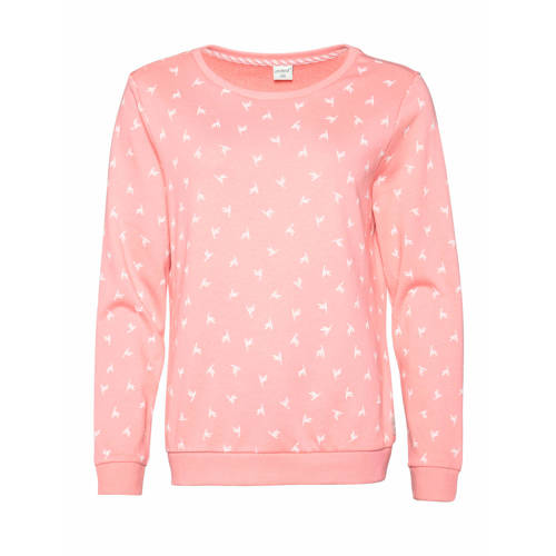 Protest sweater Steam met all over print roze