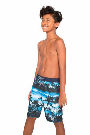 zwemshort Presley JR met all over print blauw