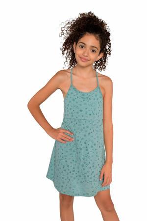 jersey jurk Dalia met sterren lichtblauw/groen