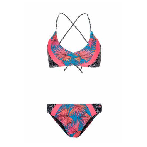 Protest bikini Meka met all over print blauw/roze
