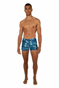 Protest zwemboxer Knockin met all over print blauw, True black