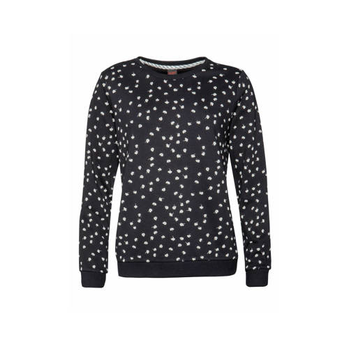 Protest sweater Steam met all over print zwart/wit