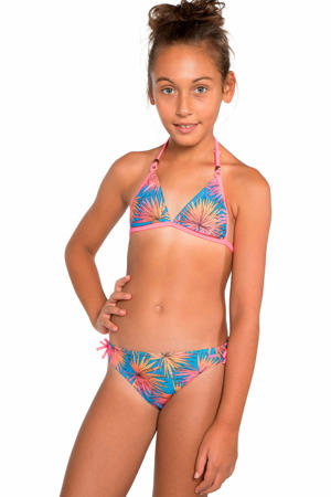 triangel bikini Haya JR met all over print roze/blauw