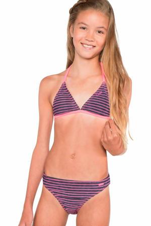 gestreepte triangel bikini Nikle JR zwart/roze