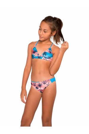 triangel bikini Rosie JR met all over print blauw/roze