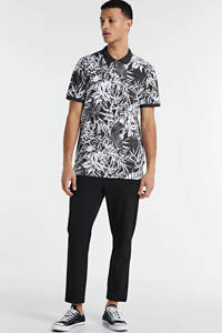 PRODUKT slim fit polo met all over print donkerblauw/wit, Donkerblauw/wit