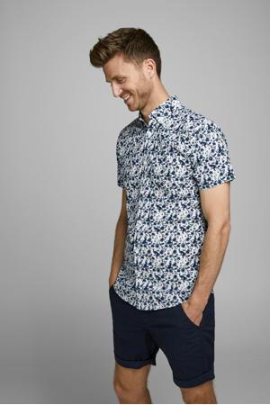 gebloemd regular fit overhemd blauw/wit