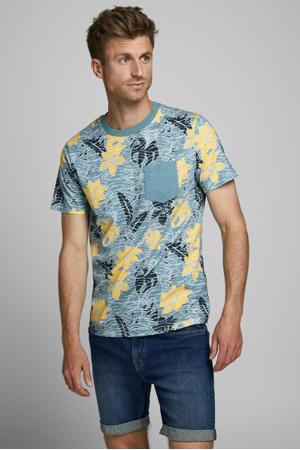 gebloemd T-shirt lichtblauw/geel