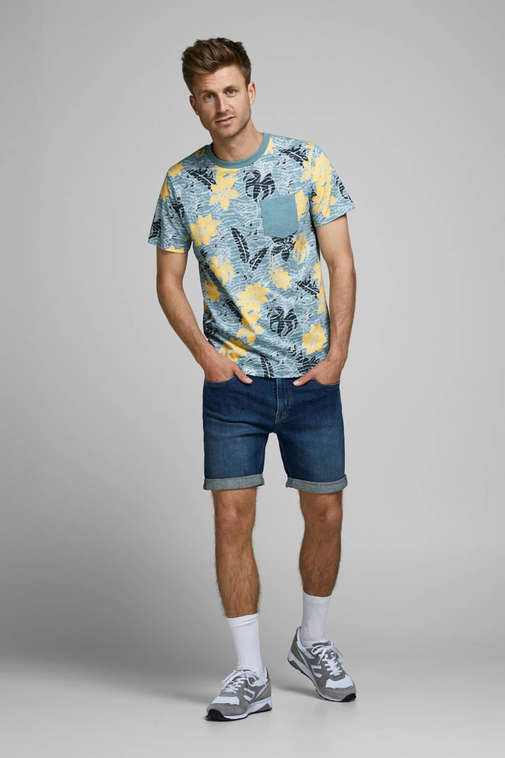 PRODUKT gebloemd T-shirt lichtblauw/geel, Lichtblauw/geel