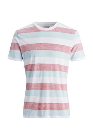 gestreept T-shirt van biologisch katoen rood/lichtblauw/wit