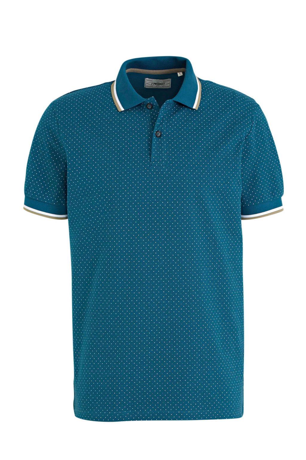 PRODUKT regular fit polo met stippen turquoise, Turquoise