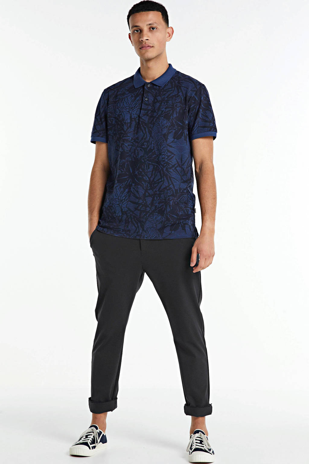 PRODUKT slim fit polo met all over print donkerblauw, Donkerblauw