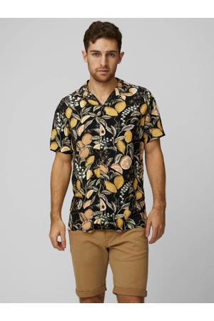 regular fit overhemd met all over print zwart/geel