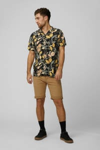 PRODUKT regular fit overhemd met all over print zwart/geel, Zwart/geel