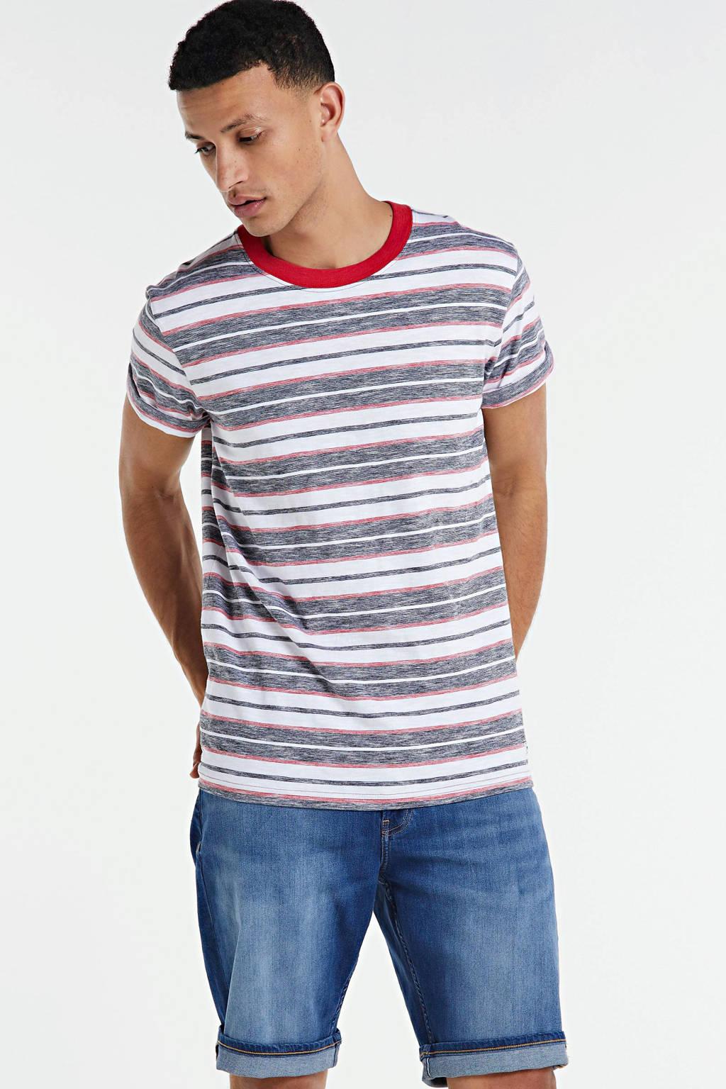 PRODUKT T-shirt - (set van 2 ), Grijsblauw/rood/wit