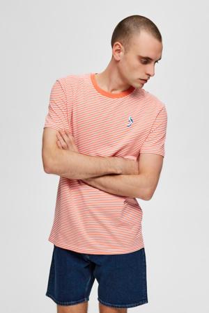 gestreept T-shirt oranje/wit