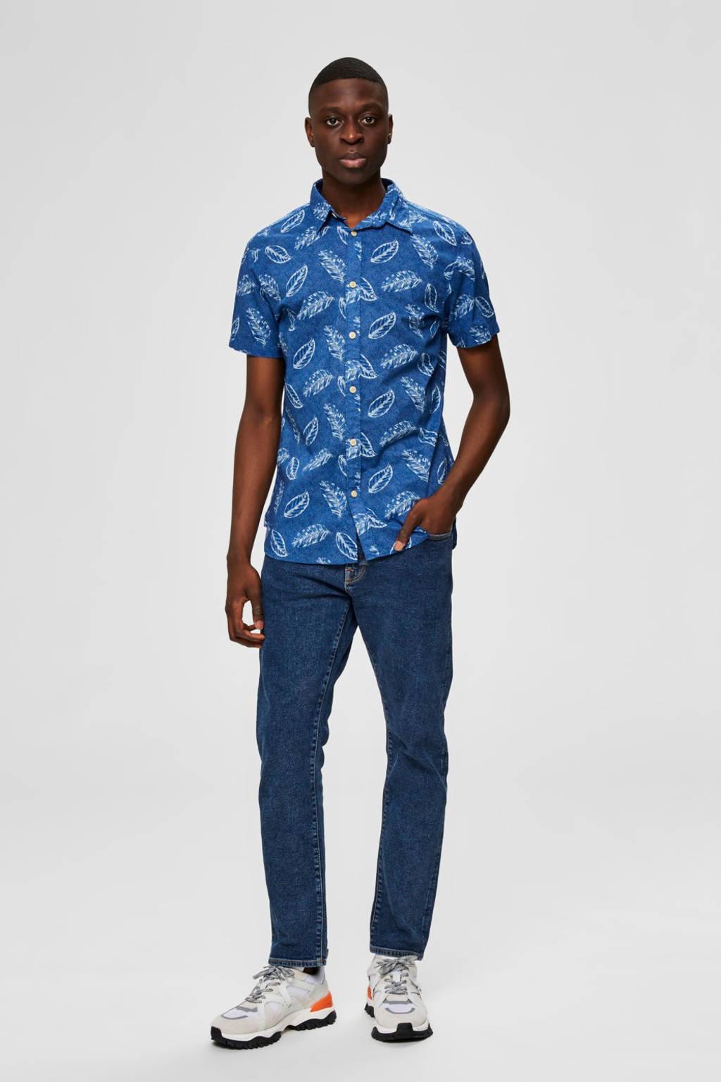 SELECTED HOMME slim fit overhemd van biologisch katoen blauw, Blauw