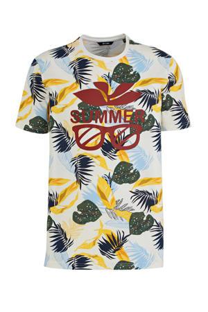 T-shirt met bladprint geel/lichtblauw/groen/rood