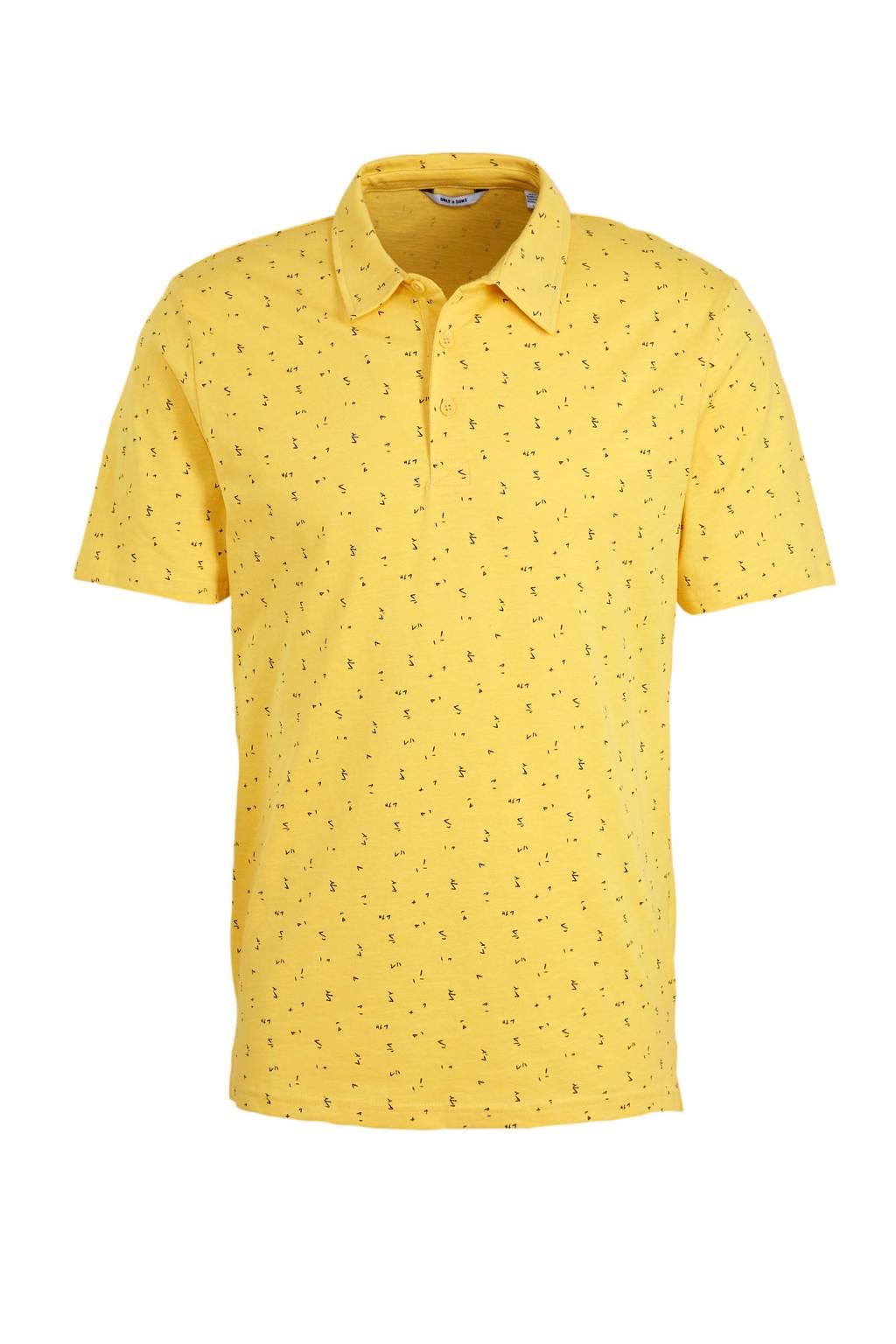 ONLY & SONS regular fit polo met all over print geel/zwart, Geel/zwart