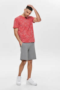 ONLY & SONS gebloemd T-shirt rood, Rood