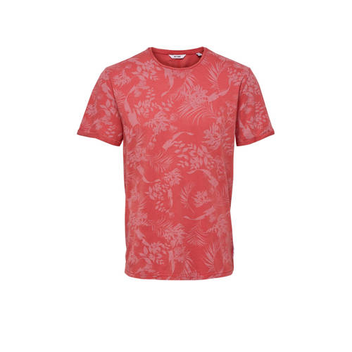 ONLY & SONS gebloemd T-shirt rood